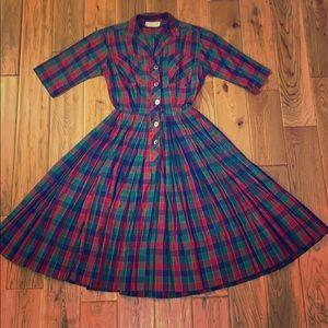Miss Serbin plaid pleated button up dress. Small